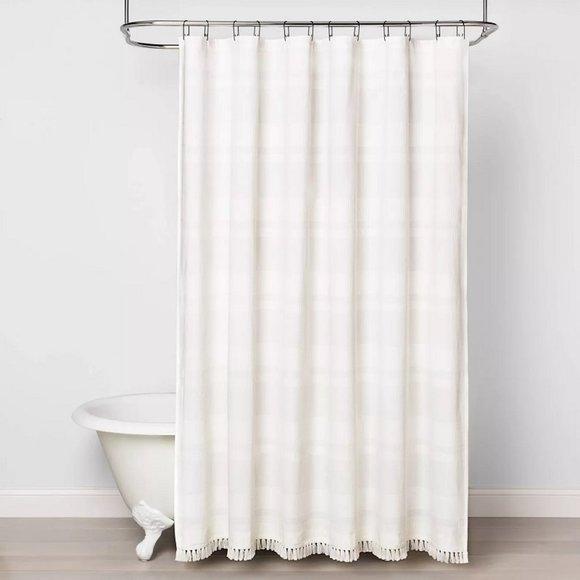 NWT Textured Stripe Shower Curtain White